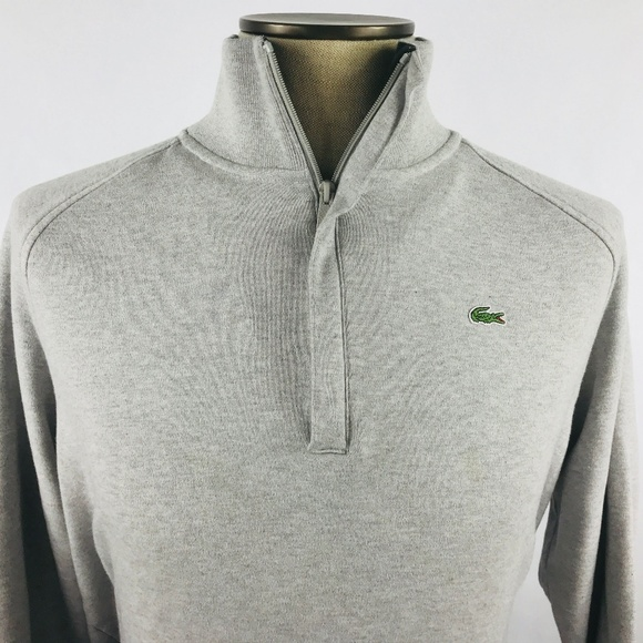 6eee842b68f Lacoste Sweaters | Gray Standing Collar Zip Up Pullover 6xl | Poshmark